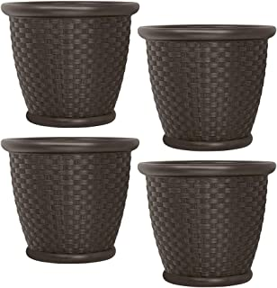 product image for Suncast Sonora 18 Inch Resin Wicker Decorative Yard Flower Planter (4 Pack)