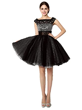 Annas Bridal Womens Cap Sleeve Beaded Prom Homecoming Dresses Short Formal Gowns Black UK6