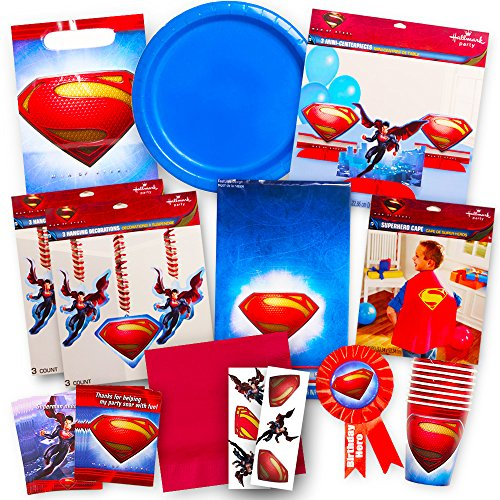 Superman Party Supplies Ultimate Set -- Superman Birthday Party Favors, Decorations, Cape, Table Cover, Invitations and (Superman Invitations)