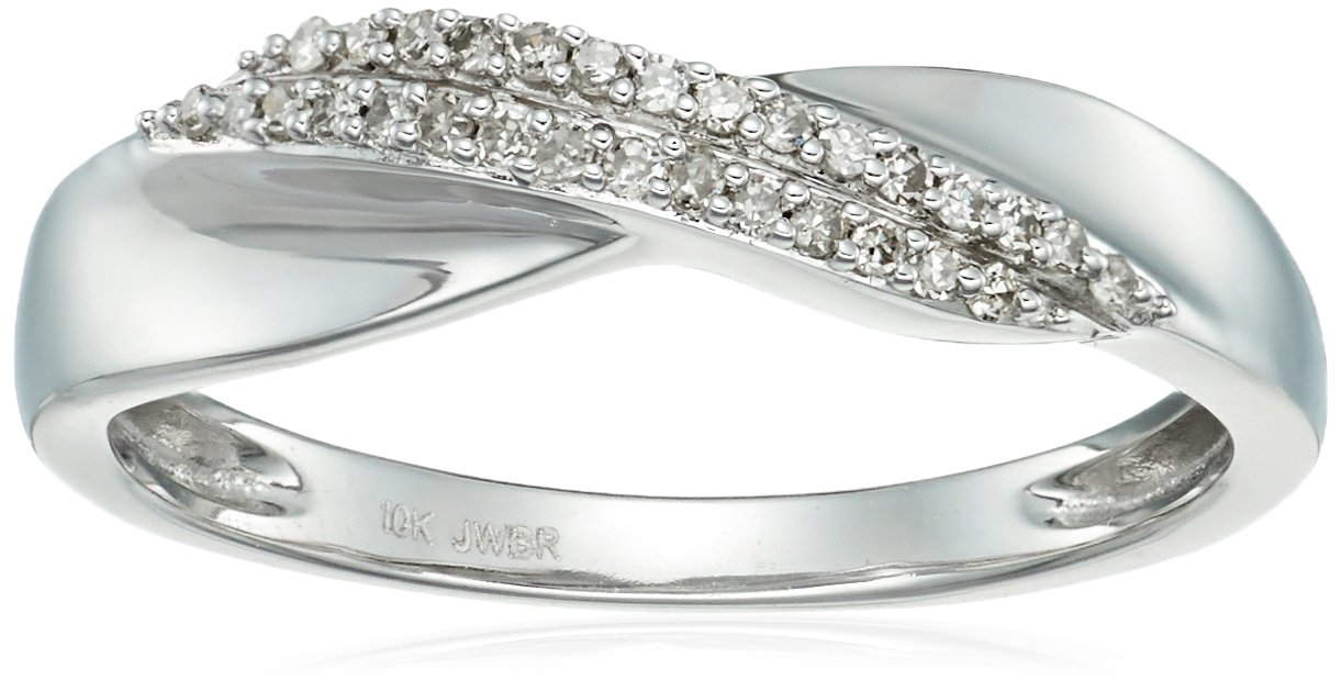 10k White Gold Diamond Two Row Crossover Band Ring (1/10cttw), Size 7