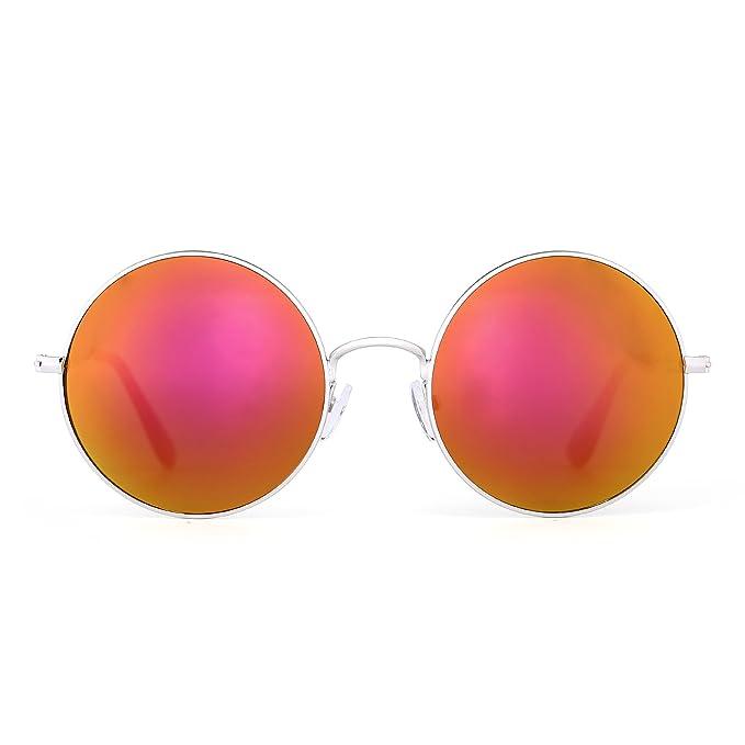 Retro Tondo Metallo Occhiali da Sole Donne Maschi Uomo Flash Specchio Riflessivo Cerchio Lente UV400 (Oro/Viola Flash) KC7A8cnzK