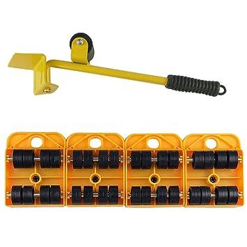Rodillos Lifter Y Mover Para Muebles 4 Piezas Heavy Appliance Mover Herramientas Set Con 1 Varilla Elevadora Y 4 Paquetes Kit Rotatorio Para Muebles 360 ...