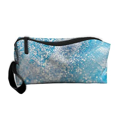 Blue And Silver Glitter Pattern Makeup Bag Printing Girl Women Travel Portable Cosmetic Bag Sewing Kit Stationery Bags Fashion Storage Pouch Bag Multi-function Bag