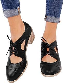 72e845e8e2946 Athlefit Women s Cut Out Ankle Boots Breathable Vintage Oxford Block Heel  Pumps