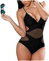 Summer Mae Women's Black Mesh One Piece Vintage Swimsuit Tank Swimwear