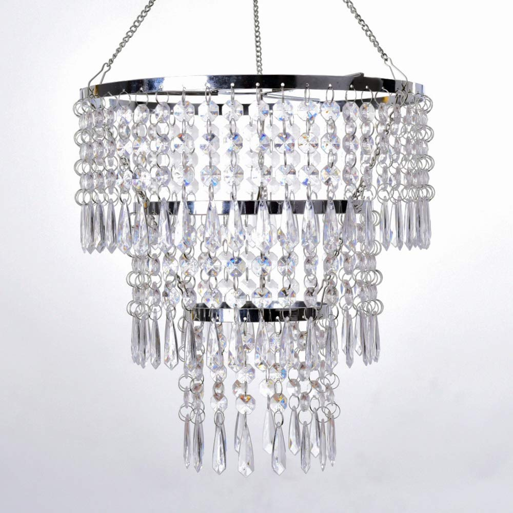 FlavorThings 3 Tiers Fuax Crystal Acrylic Beaded Chandelier,Diam10.5 Long 11,LampShade with Acrylic Jewel Droplets,Great idea for Wedding Centerpieces Decorations and Any Event Party Home Decor Diam10.5 Long 11
