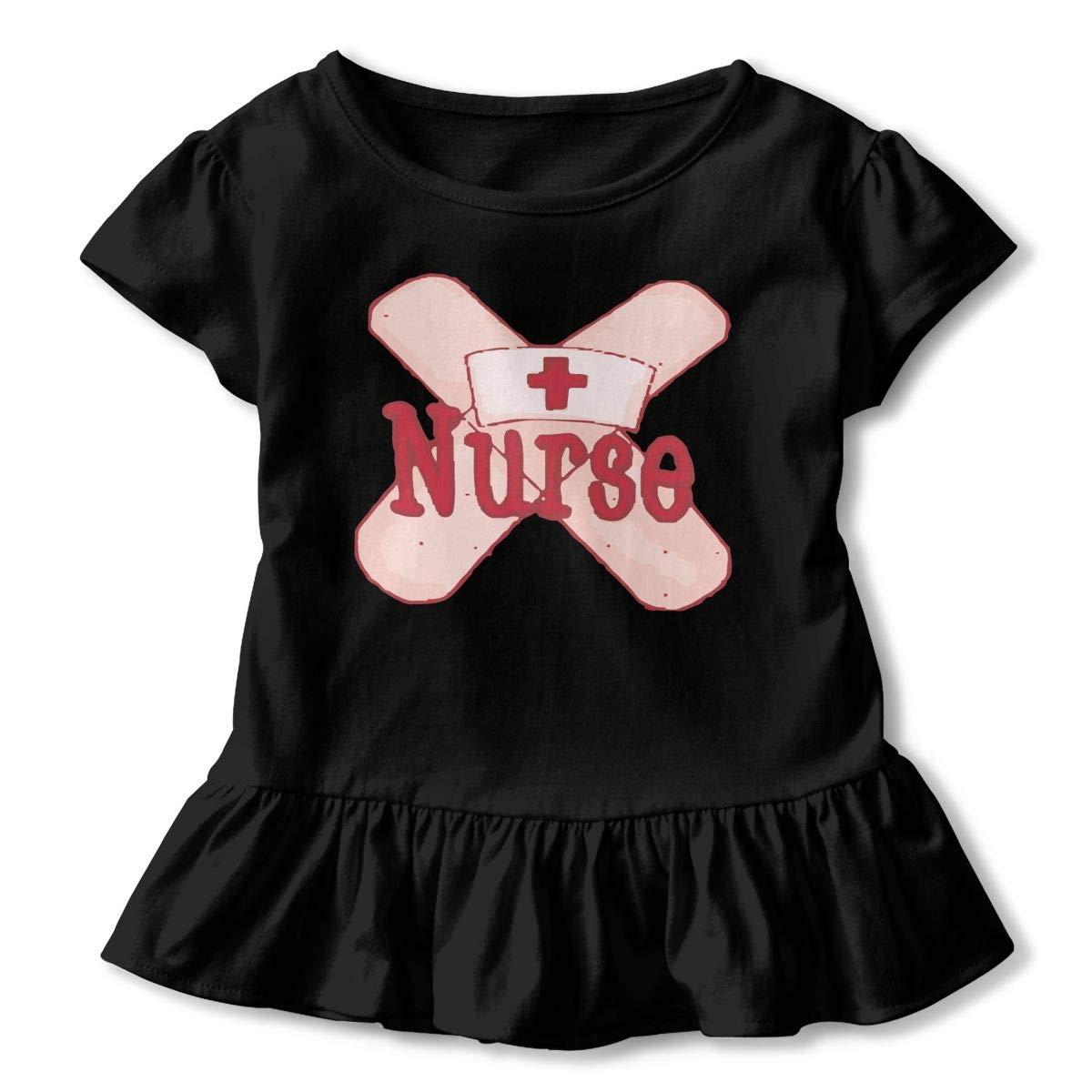 CZnuen Nurse Bandage Cartoon 2-6T Baby Girls Cotton Jersey Short Sleeve Ruffle Tee