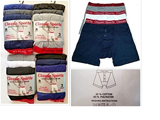 cdf23b9cef4f2a Classic Sports Men's Soft Ribbed Cotton Boxers Shorts with Red Elastic  Waistband (3, ...