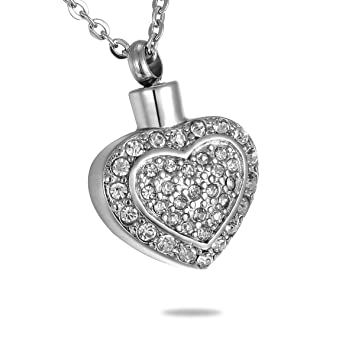 Hooami rhinestone double heart memorial pendant ashes keepsake hooami rhinestone double heart memorial pendant ashes keepsake cremation urn necklaces aloadofball Gallery