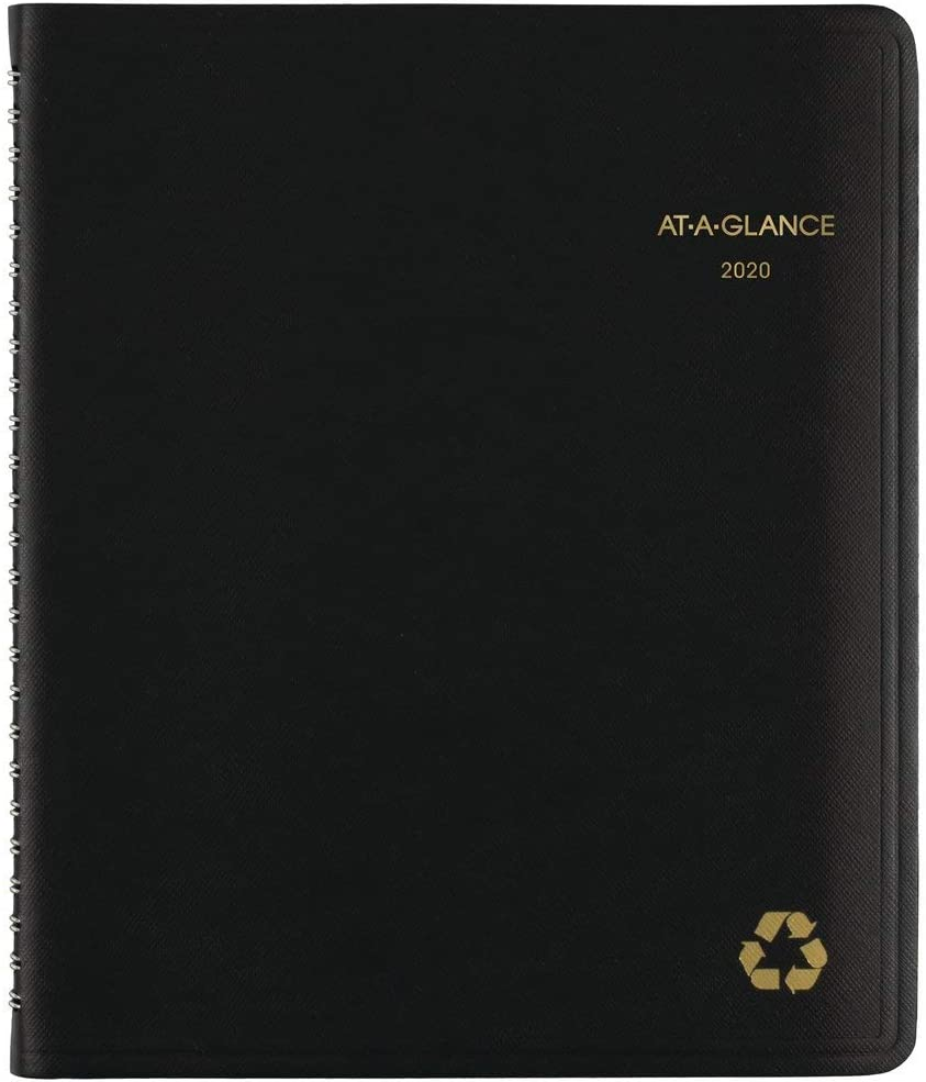 "AT-A-GLANCE 2020 Weekly & Monthly Planner/Appointment Book, 7"" x 8-3/4"", Medium, Recycled, Black (70951G05)"