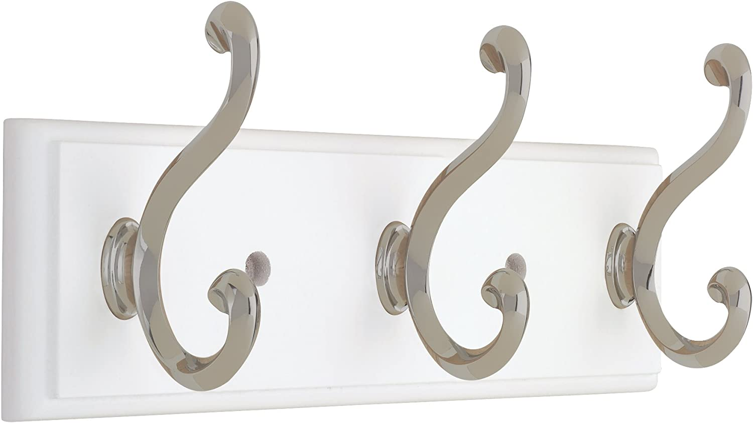 Liberty Hardware 129854 10-Inch Hook Rail/Coat Rack with 3 Scroll Hooks, White and Satin Nickel