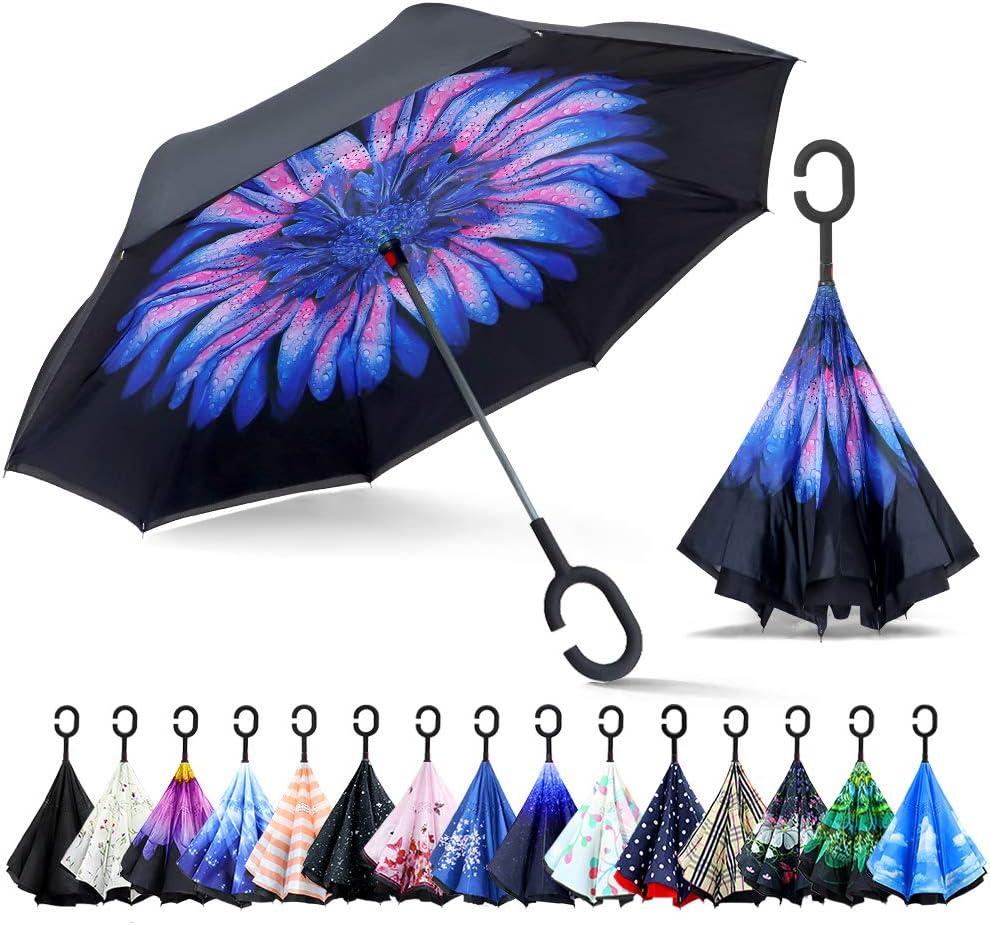 Mains Libres poign/ée en Forme C ZOMAKE Parapluie Invers/é,Parapluie Canne,Double Couche Coupe-Vent Id/éal pour Voiture et Voyage