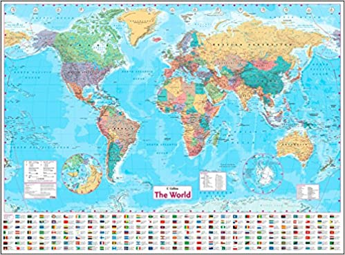 Uk In Map Of World.Collins World Wall Paper Map Amazon Co Uk Collins Maps