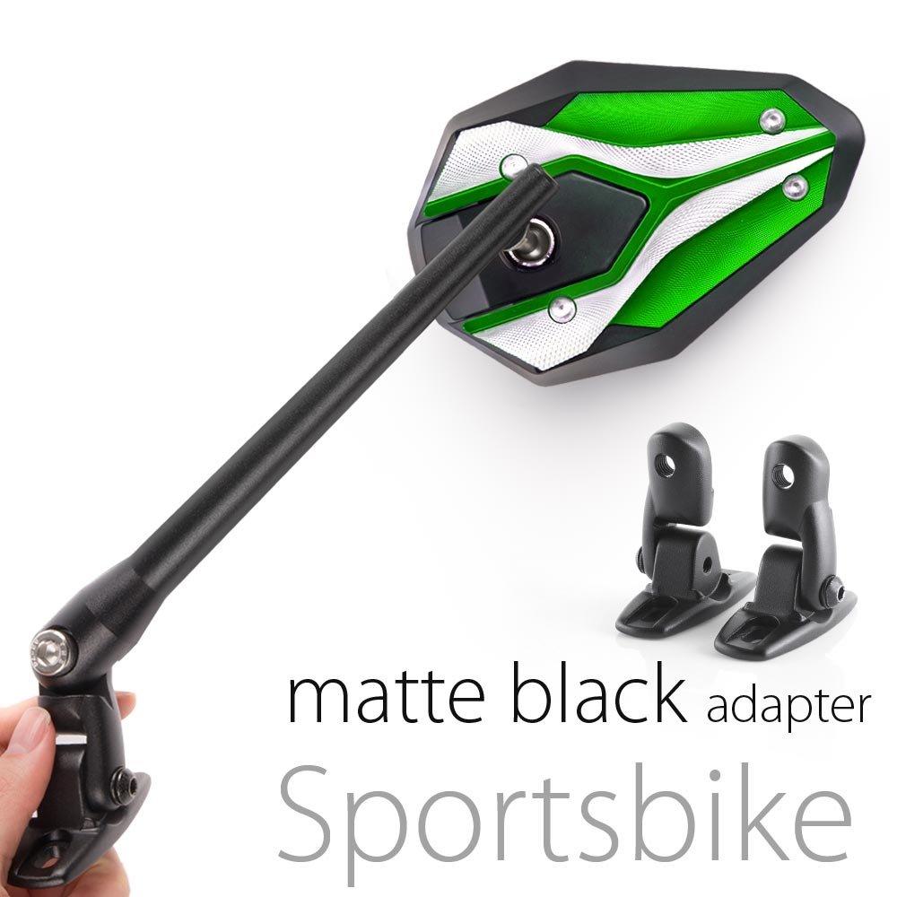 KiWAV Magazi Viper II motorcycle mirrors green fairing mount w/ matte black adapter for sports bike adjustable e by KiWAV (Image #1)