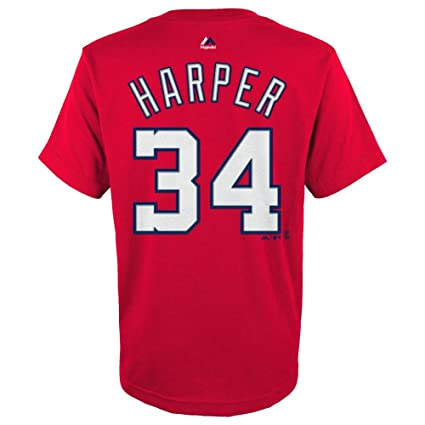 new arrival 99ef8 ac9bf Majestic Bryce Harper Washington Nationals Red Youth Jersey Name and Number  T-shirt