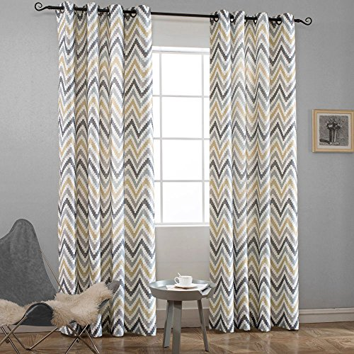 Melodieux Chevron Grommet Top Window Curtains for Living Room, 52 by 84 Inch, Yellow (1 Panel) (Yellow Curtain Chevron)