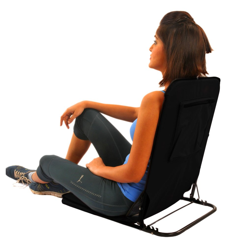 Kawachi Folding Back Yoga Chair Floor Meditation Yoga Picnic Camping  Relaxation Relaxing Chair   Black: Amazon.in: Garden U0026 Outdoors