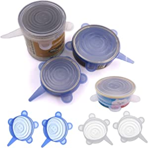 COMTIM Pet Food Can Lids, Silicone Stretch Can Lids Covers for Dog Cat Food, Reusable Expandable Universal Size Fit Most Cans and Jars, 4 Pack