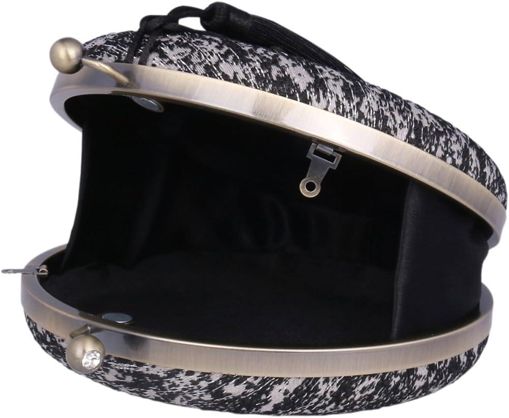 Adoptfade Bolso Clutch Retro Redondo Mujer Fiesta Boda Con Fleco Estampado,negro