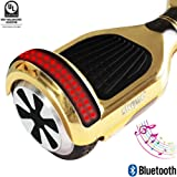 """Self Balancing Scooter (MAX 220 lbs), Skque I1.4 UL2272 Chrome 6.5"""" Smart Two Wheel Self Balancing Electric Scooter with Bluetooth Speaker with LED Lights, Gold"""