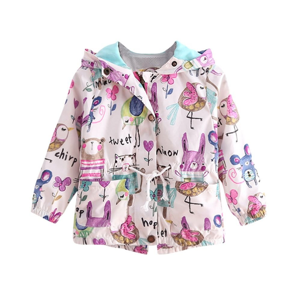 ESHOO Baby Girls Casual Outerwear Floral Animal Print Jacket Hooded Coat