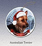 Holiday Pet Gifts Australian Terrier Santa Hat Dog Porcelain Christmas Tree Ornament