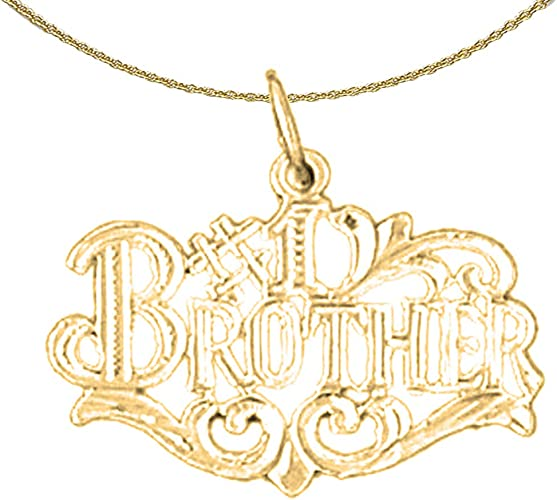 14K Yellow Gold-plated 925 Silver #1 Brother Pendant Jewels Obsession Silver #1 Brother Pendant