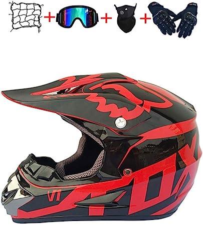 BHGJ Casco Moto Cross,Casco Motocross Bambino E Ragazzi casco motocross adulto Casco da motocross con occhiali protettivi e guanti S