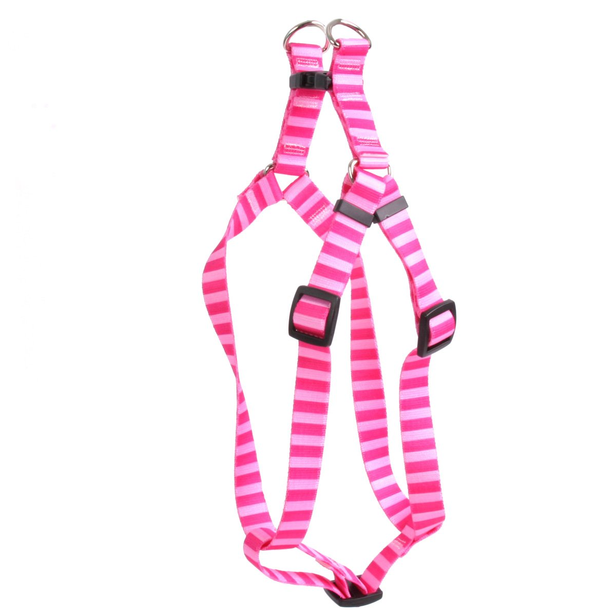 Yellow Dog Design Pink and Pink Stripe Step-in Dog Harness, Large-1'' Wide and fits Chest of 25 to 40'' by Yellow Dog Design