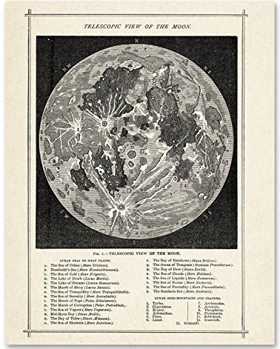 Antique Map of the Moon - 11x14 Unframed Art Print - Great Gift for Space Lovers and Astronomers by Personalized Signs by Lone Star Art