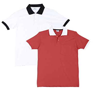 c39bd59cf1c FLEXIMAA Men s Cotton Polo Collar T-Shirts with Pocket Opposite Color Collar    Cuff (Pack of 2) - Coral Red   White Colors.