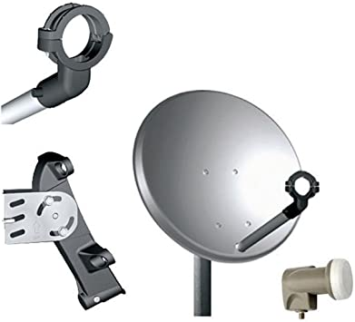 Tele System Antena Satélite parábola de Aluminio, 40 cm Satélite con LNB compacta pequeña Sky