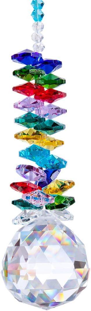 Cristal Feng Shui Boule Prism Pendentif chakra Cascade Attrape-soleil multicolore