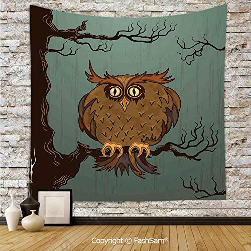 FashSam Tapestry Wall Hanging Exhausted Hangover Tired Owl in Oak Tree with Eyebrows Nature Cartoon Fun Artwork Tapestries Dorm Living Room Bedroom(W59xL90) ()