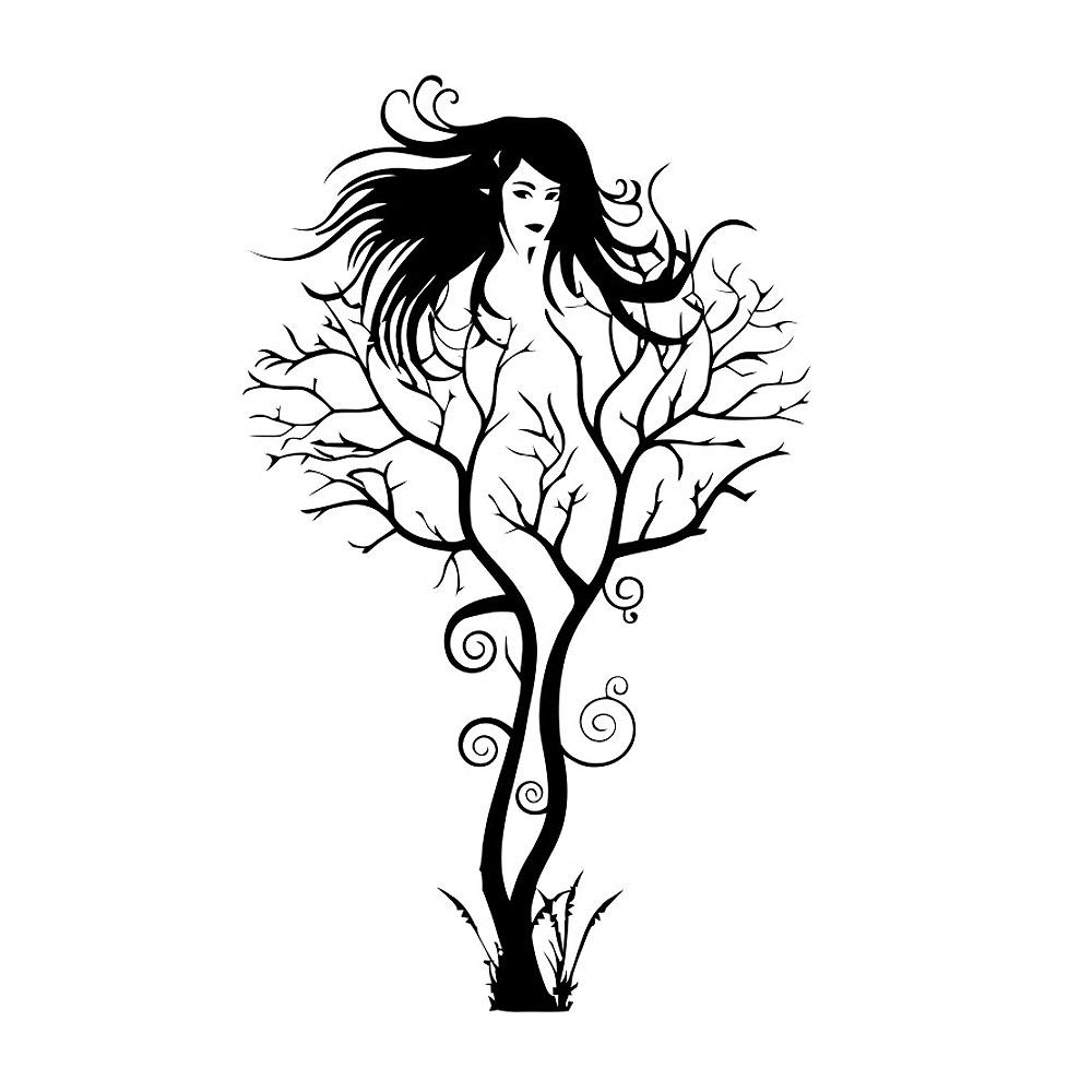 Homefind creative tree branches with naked woman pattern art murals vinyl wall decals stickers for bedroom living room girls room nursery home decors black