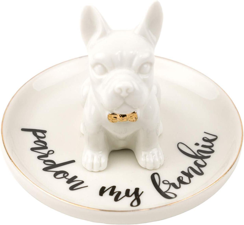 Eccolo World Traveler Pardon My Frenchie Dog Trinket Tray and Organizer for Rings Earrings Bracelets Necklaces Keys, 4.5 Diameter