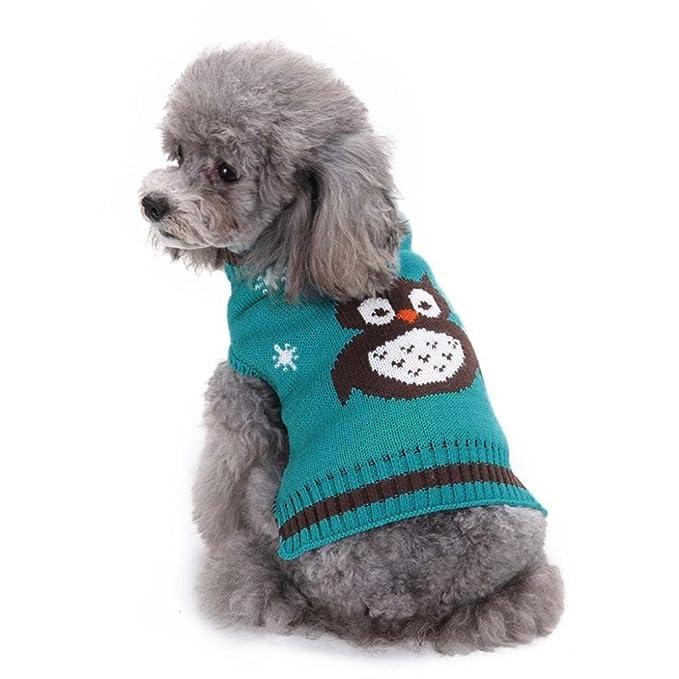 Amazon.com: minisoya moda mascota perro ropa patrón de búhos ...