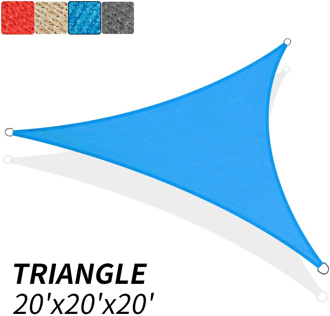 KITADIN 20 x 20 x 20 Sun Shade Sail Triangle Blue UV Block Awning Shelter Canopy for Outdoor Patio Garden Backyard
