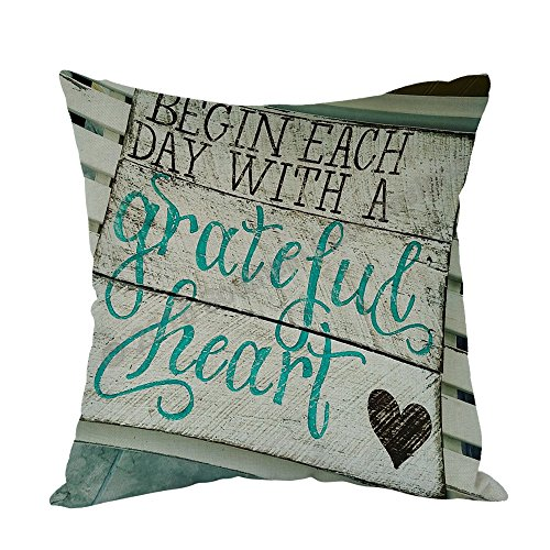 Moslion Wood Signs with Sayings Pillow,Home Decor Throw Pillow Cover Begin Each Day with a Grateful Heart Cotton Linen Cushion for Couch/Sofa/Bedroom/Livingroom/Kitchen/Car 18 x 18 inch Pillow case