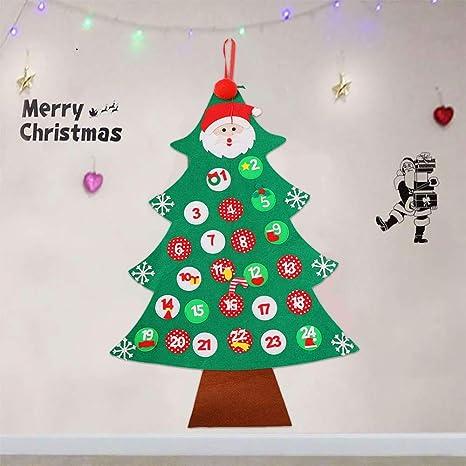 Gudotra Calendario de Navidad en Forma de Árbol de Navidad Colgando Niños en un Árbol Decoración