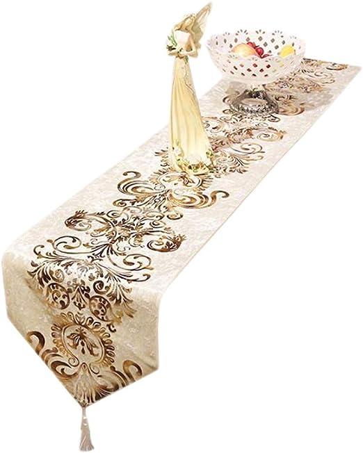 FTI-Colchonetas Simple Mesa Bandera Estampado de Flores Tela Tela Café Cama Hotel Boda Banquete 33 cm * 160 cm (Color : Blanco, Tamaño : 210cm): Amazon.es: Hogar