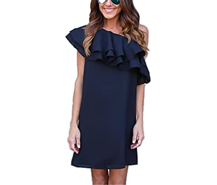 824e048a65b FJ-Direct Summer Women Sexy Off Shoulder Elegant Ruffles Party Mini Dresses  Beach Dress Dark