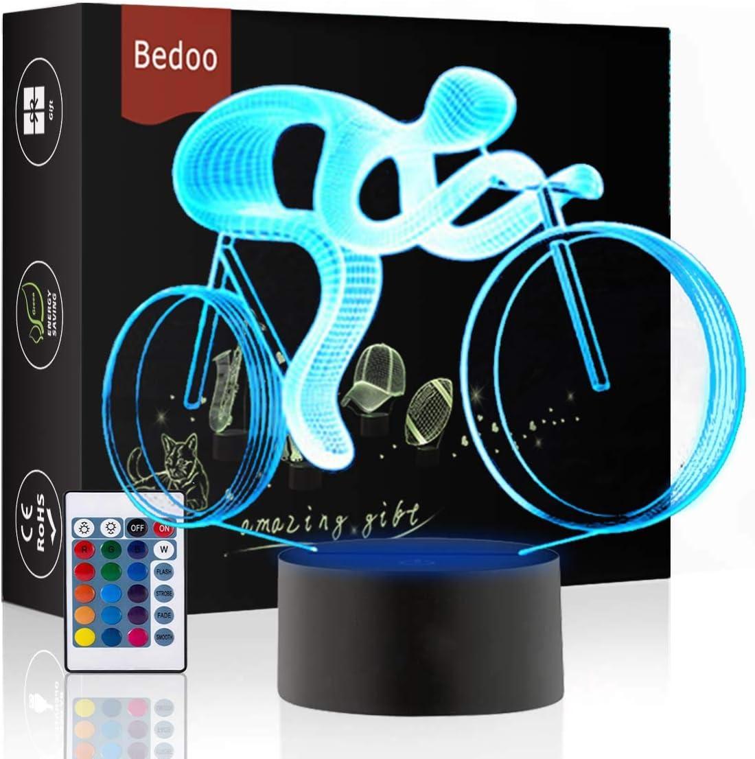 Luz de Noche LED Ilusión 3D Lámpara de Mesa de Cabecera 16 colores Cambiando la iluminación dormir con el botón de tacto inteligente Lindo regalo de calentamiento actual Decoración creativa(Bicicleta)