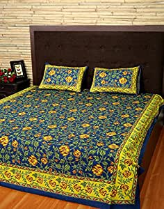 Traditional Double Navy Blue & Pear Yellow Cotton Floral Bedspread Printed Festival Bedsheet By Rajrang