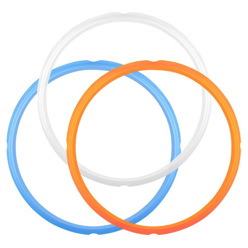 IHUIXINHE Guarnizione Coperchio Pentola a Pressione,Guarnizione per pentola a pressione,confezione da 3-Blu, Bianco,Arancione Bianco,Arancione