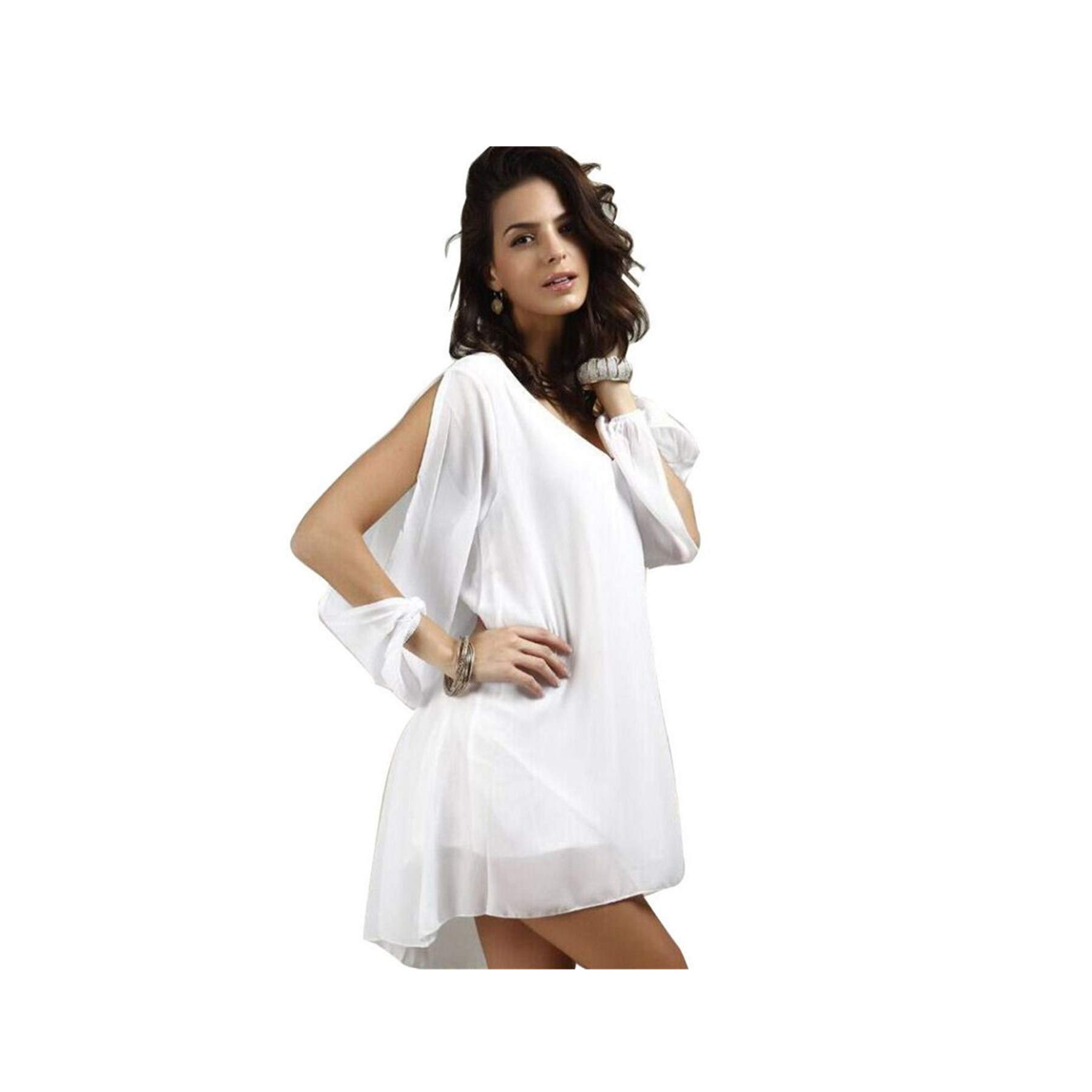 Feitengtd Sexy Women Lady Summer Casual Party Evening Cocktail Short Mini Dress L White