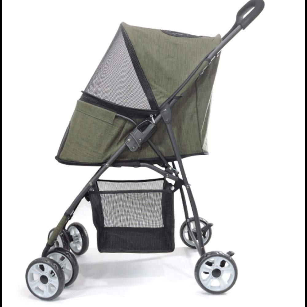 GREEN TYT Pet Stroller Cat Dog Cart Carrier Pet Stroller Pet Folding Stroller Medium Dog 4 Wheel Light Out Car (color   Green)