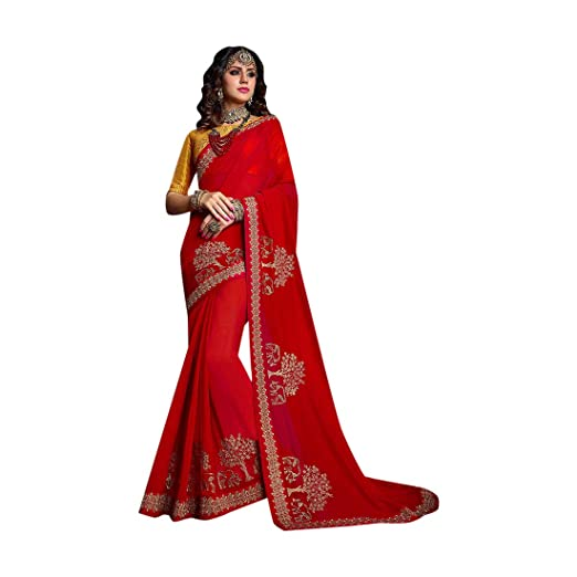 7aef5d7ce029ad Amazon.com: Hot Red Nepal Silk Saree Designer Party wear Stylish Contrast  Blouse Pattern Royal Sari Indian Ethnic Women 7559: Home Improvement