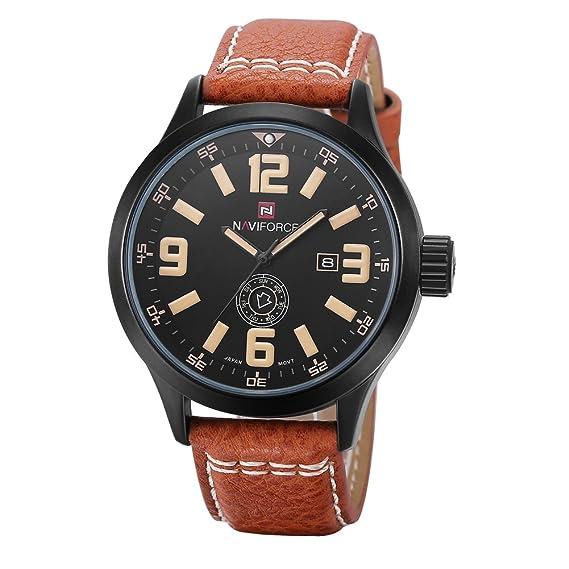 Hombre Reloj de cuarzo, Relojes militares 30m impermeable Calendario Semana Aire libre Sportuhr Casual Resistente a los golpes-B: Amazon.es: Relojes
