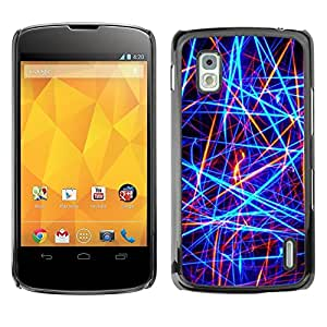 Be Good Phone Accessory // Dura Cáscara cubierta Protectora Caso Carcasa Funda de Protección para LG Google Nexus 4 E960 // Bright Neon Colors Red Black